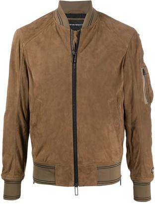 Emporio Armani Short Suede Bomber Jacket