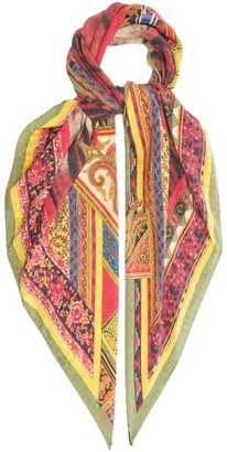 Etro Tiger And Paisley-print Silk Scarf - Multi