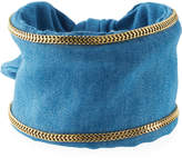 Lydell NYC Chain-Trimmed Denim Cuff Bracelet