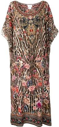 Camilla Mixed-Print Kaftan Dress