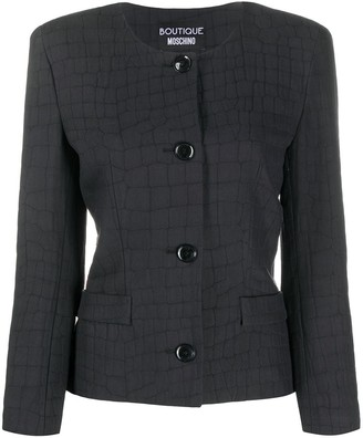 Boutique Moschino Crocodile Print Fitted Jacket
