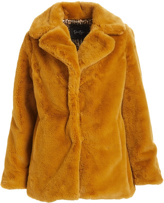 Jessica Simpson Collection Women's Car Coats MUSTARD - Mustard Faux Fur Coat - Women