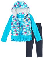 Disney Pixar Finding Dory Toddler Girl Fleece Vest, Ruffle Hem Tee & Denim Leggings Set
