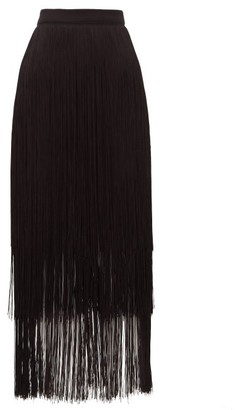 Raey Long-fringe Midi Pencil Skirt - Womens - Black