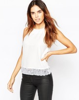 Asos Racer Front Cami Top with Lace Hem