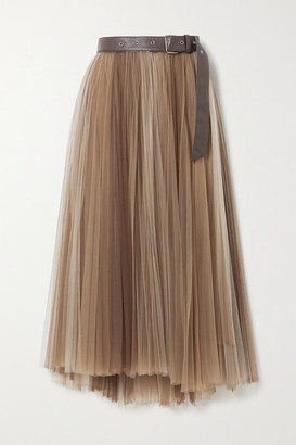 Brunello Cucinelli Belted Pleated Tulle Midi Skirt - Taupe