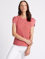 Marks and Spencer Pure Cotton Striped Gingham Sleeve T-Shirt