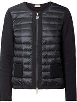 Moncler Quilted Shell And Knitted Cotton Down Cardigan - Midnight blue