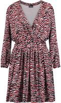 Just Cavalli Pleated Wrap-Effect Printed Stretch-Jersey Mini Dress