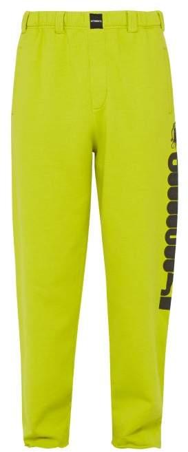 391b4755 Logo Print Cotton Track Pants - Mens - Light Green