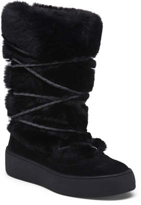 Faux Fur Boots With Wraparound Lacing