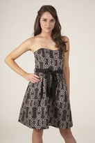 Corey Lynn Calter Haley Strapless Pleat Skirt Dress in Brown