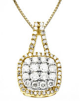 Lord & Taylor 14 Kt. Gold Diamond Square Pendant Necklace