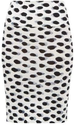 Norma Kamali Watercolour Polka-dot Jersey Pencil Skirt - Womens - White Black