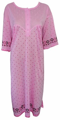 I Smalls i-Smalls Ladies Cool Cotton Floral Print Short Sleeve Nightdress Plus Sizes with Lilac Eye Mask (3XL) Pink Drop