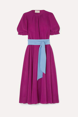ARoss Girl x Soler Brooke Belted Silk Crepe De Chine Midi Dress - Purple