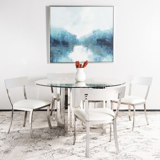 Safavieh Dining Abby Glam White/ Silver Chrome Dining Chair