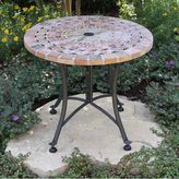 OUTDOOR INTERIORS Outdoor Interiors 24 in. Sandstone Mosaic End Table with Metal Base