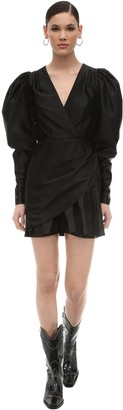 Rotate by Birger Christensen Puffed Sleeves Wrapped Nylon Mini Dress