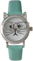 OLIVIA PRATT Olivia Pratt Womens Silver-Tone Ears And Glasses White Cat Face Print Dial Mint Faux Leather Strap Watch 15097