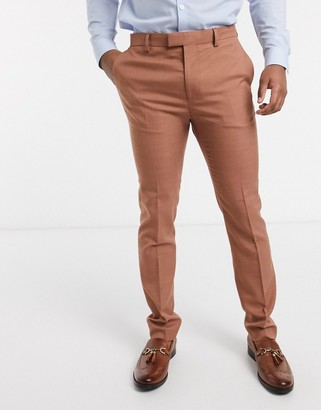 Topman skinny fit suit pants in camel