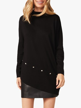 Phase Eight Harrio Asymmetric Hem Studded Knit Top, Black