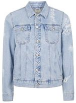 Topman Blue Distressed Denim Jacket
