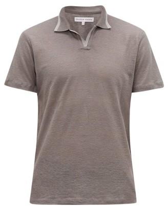 Orlebar Brown Felix Linen-pique Polo Shirt - Mens - Grey