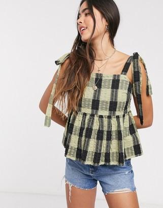 ASOS DESIGN square neck smock cami with tie strap detail in check print