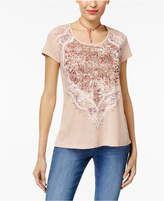 Style&Co. Style & Co Style & Co Petite Foil-Print T-Shirt, Created for Macy's