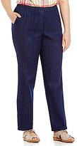 Allison Daley Mock-Fly Pull-On Denim Pants