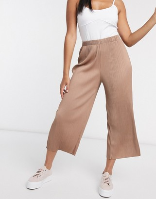 ASOS DESIGN plisse culotte trousers in brown