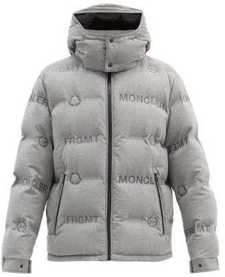 Fragment 7 Moncler Logo-print Down Quilted-shell Jacket - Grey