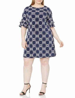 Ronni Nicole Women's Plus Size Double Ruffle dot