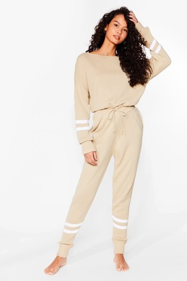 Nasty Gal Womens Our Stripe of Day Knitted Jumper and Joggers Set - Beige - S
