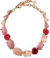 Oscar de la Renta Crystal Rosette Station Necklace, Pink/Multi