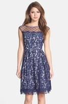 Eliza J Women's Illusion Yoke Lace Fit & Flare Dress