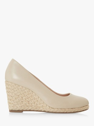 Dune Annabels Wide Fit Leather Wedge Heel Espadrille Shoes, Ecru