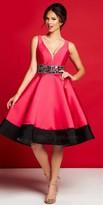 Mac Duggal Color Block Crystal Beaded Knee Length Dress