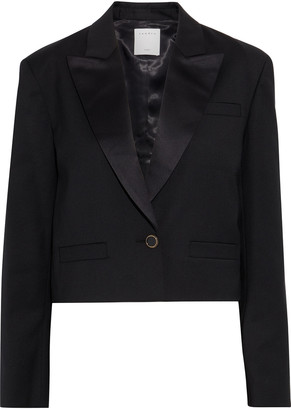 Sandro Tery Cropped Satin-trimmed Twill Blazer
