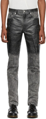 John Lawrence Sullivan Grey and Black Cracked Leather Jeans