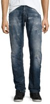 PRPS Barracuda Antique-Washed Distressed Denim Jeans, Medium Blue