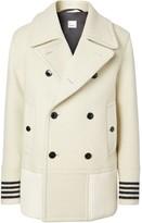 Burberry striped cuff pea coat