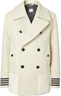 Burberry Striped Cuff Pea Coat