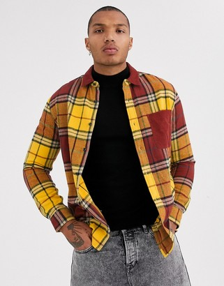 Topman checked shirt in mustard with cord collar-Yellow