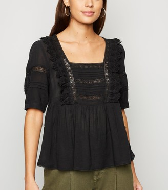 New Look Square Neck Crochet Lace Top