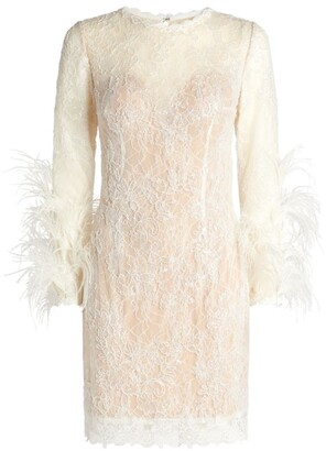 Jovani Feather-Trim Mini Dress