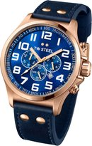 TW Steel Pilot TW407 Men's 45MM Rose Gold & Leather Chrono Watch