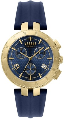 Versus Men's Quartz Chronograph Leather Strap Watch, 4mm