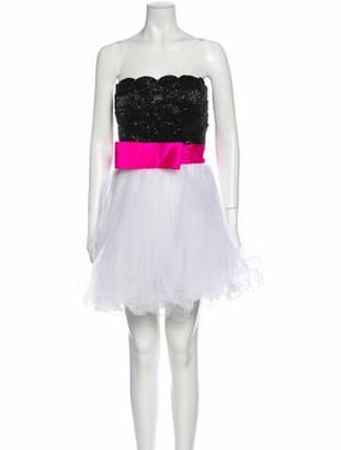 Jovani Colorblock Pattern Mini Dress Black